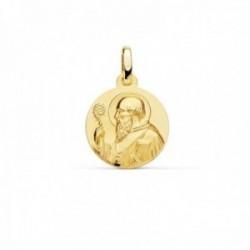 Medalla oro 18k escapulario San Benito 14mm. redondo liso matizado relieve