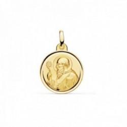 Medalla oro 18k escapulario San Benito 16mm. liso matizado relieve bisel
