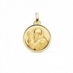 Medalla oro 18k escapulario San Benito 18mm. liso matizado relieve bisel