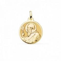 Medalla oro  18k escapulario San Benito monje 18mm. brillo relieve