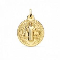 Medalla oro  18k escapulario San Benito monje 24mm. brillo relieve