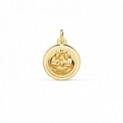 Medalla oro 18k Nuevo Bautismo 12mm. acabado mate relieve bisel