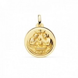 Medalla oro 18k Nuevo Bautismo 18mm. acabado mate relieve bisel