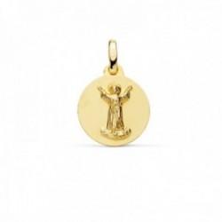 Medalla oro 18k Divino Niño Jesús 14mm. relieve lisa acabado matizado