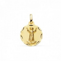 Medalla oro 18k Divino Niño Jesús 16mm. relieve lisa acabado matizado borde detalle tallado
