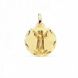 Medalla oro 18k Divino Niño Jesús 18mm. relieve lisa acabado matizado borde detalle tallado