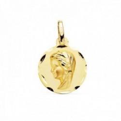 Medalla oro 18k Virgen Niña 14mm. relieve lisa detalles tallados borde