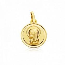 Medalla oro 18k Virgen Niña 14mm. relieve lisa bisel
