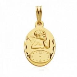 Medalla oro 18k oval 17mm. Ángel reloj detalles tallados