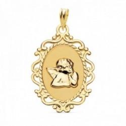 Medalla oro 18k Ángel Burlón Querubín 23mm. oval brillo mate detalle cerco calado