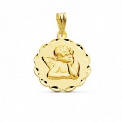 Medalla oro 18k Angelito Burlón Querubín 17mm. relieve detalle cerco arcos tallados