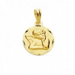Medalla oro 18k Angelito Burlón Querubín 14mm. relieve lisa detalle borde tallado