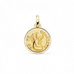 Medalla oro 18k Angelito YO TE GUARDARÉ 16mm. lisa relieve bisel