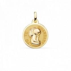Medalla oro 18k Ángel YO TE GUARDARÉ 16mm. relieve brillo fondo matizado