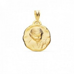 Medalla oro 18k Niño de la Flor 15mm. bebé relieve acabado satinado