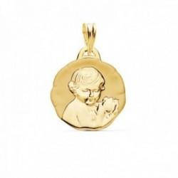 Medalla oro 18k Niño de la Flor 19mm. relieve acabado mate brillo