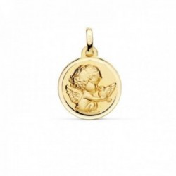 Medalla oro 18k Angelito paloma 16mm. relieve acabado matizado bisel