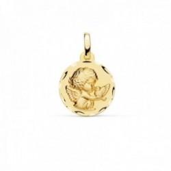 Medalla oro 18k Angelito paloma 14mm. relieve acabado matizado borde detalle tallado