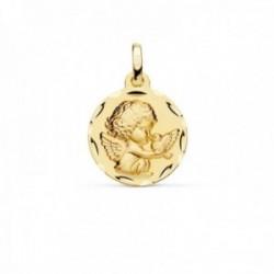 Medalla oro 18k Angelito paloma 16mm. relieve acabado matizado borde detalle tallado