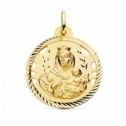 Medalla oro 18k Virgen del Carmen 28mm. detalles calados cerco hélice tallado