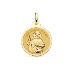 Medalla oro 18k San Judas Tadeo 20mm. bisel acabado brillo