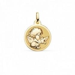 Medalla oro 18k Angelito paloma 16mm. relieve acabado mate brillo