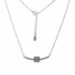 Gargantilla plata Ley 925m rodiada 41cm. detalle entrepieza flor piedras circonitas cierre reasa