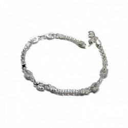 Pulsera plata Ley 925m alterna detalle herraduras cadena cierre mosquetón