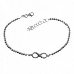 Pulsera plata Ley 925m detalle infinito 18cm. cadena bolas 2.5mm. lisa cierre mosquetón