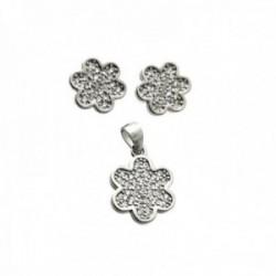 Juego plata Ley 925m rodiado motivo flor colgante 10mm. pendientes 9mm. cierre presión