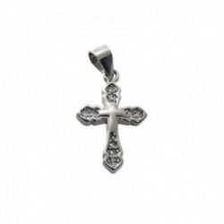Colgante plata Ley 925m cruz 15mm. piedras circonitas detalle cruz lisa centro