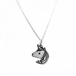 Gargantilla plata Ley 925m cadena 40cm. detalle unicornio 32mm. liso