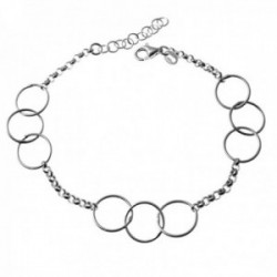 Pulsera plata Ley 925m alterna cadena rolo 16.5cm. detalle triple Karma cierre mosquetón
