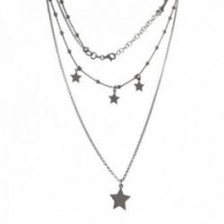 Gargantilla plata Ley 925m cadena doble combinada bolitas 39cm. cadena rolo 49cm. estrellas lisas