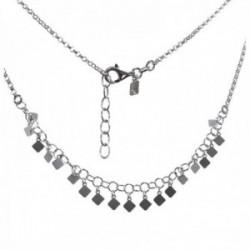 Gargantilla plata Ley 925m cadena rolo 42cm. detalle chapitas rombos lisos cierre mosquetón