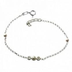 Pulsera plata Ley 925m cadena rolo 14cm. infantil detalle perlas circonitas chatones cierre reasa