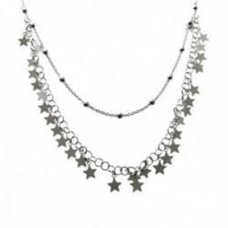Gargantilla plata Ley 925m cadena doble 40cm. cadena combinada bolas cadena estrellas colgando