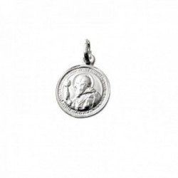 Medalla plata Ley 925m escapulario 17mm. San Benito relieve