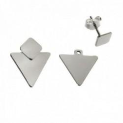 Pendientes plata Ley 925m desmontables dos piezas 12mm. lisos triángulo rombo cierre presión