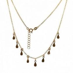 Gargantilla plata Ley 925m chapada oro cadena rolo 43cm. detalle lágrimas colgando cierre reasa