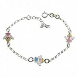Pulsera plata Ley 925m infantil 15cm. angelitos esmaltados doble cara cadena rolo cierre reasa