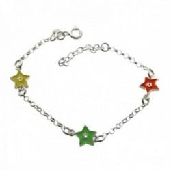 Pulsera plata Ley 925m infantil 15cm. estrellas esmaltadas doble cara cadena rolo cierre reasa
