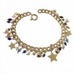 Pulsera plata Ley 925m chapada oro 19cm. cadena barbada piedras colores perlas estrellas colgando
