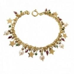 Pulsera plata Ley 925m chapada oro 18.5cm. cadena barbada estrellas perlas piedras colores colgando
