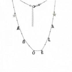 Gargantilla plata Ley 925m cadena bolas combinada 40cm. palabra ABUELA estrellas cierre mosquetón