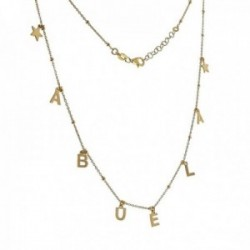 Gargantilla plata Ley 925m chapada oro 42cm. palabra ABUELA estrellas cadena bolas combinada