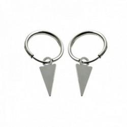 Pendientes plata Ley 925m aros 11mm. diámetro interior detalle triángulo colgando