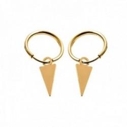 Pendientes plata Ley 925m chapados oro aros 11mm. diámetro interior detalle triángulo colgando