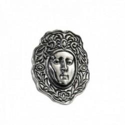 Colgante plata Ley 925m rostro 30mm. Virgen del Rocío detalles oxidados