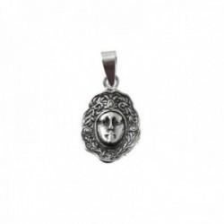 Colgante plata Ley 925m rostro 15mm. Virgen del Rocío detalles oxidados
